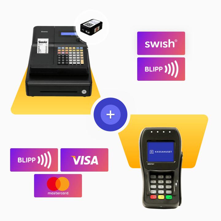 SAM4S kassaregister med kontrollenhet och WEST 8006 betalterminal