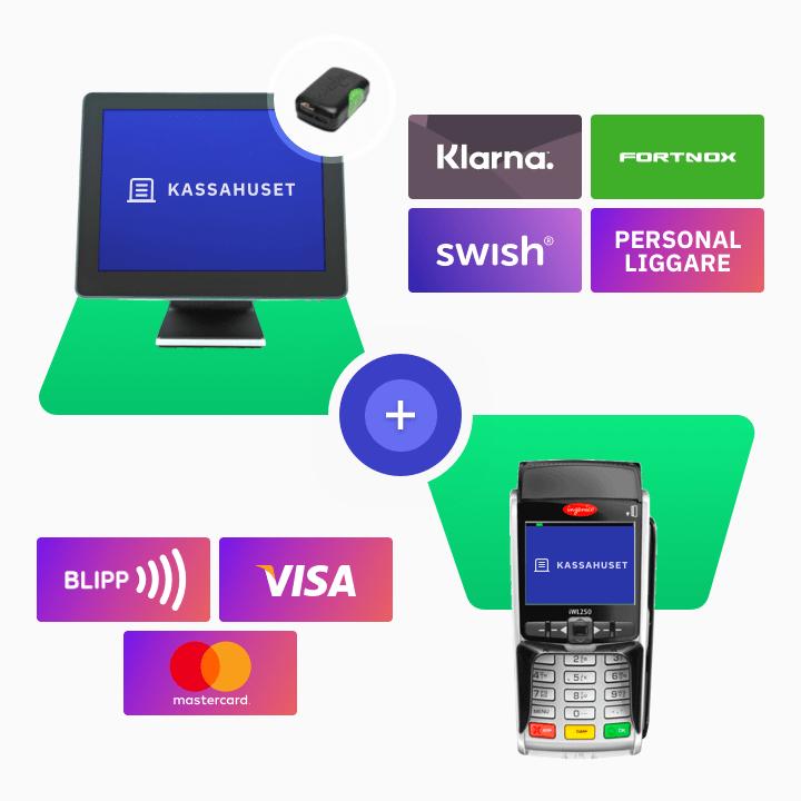 Kassasystem och betalterminal paket med integration av Klarna, Fortnox, Swish och personal liggare