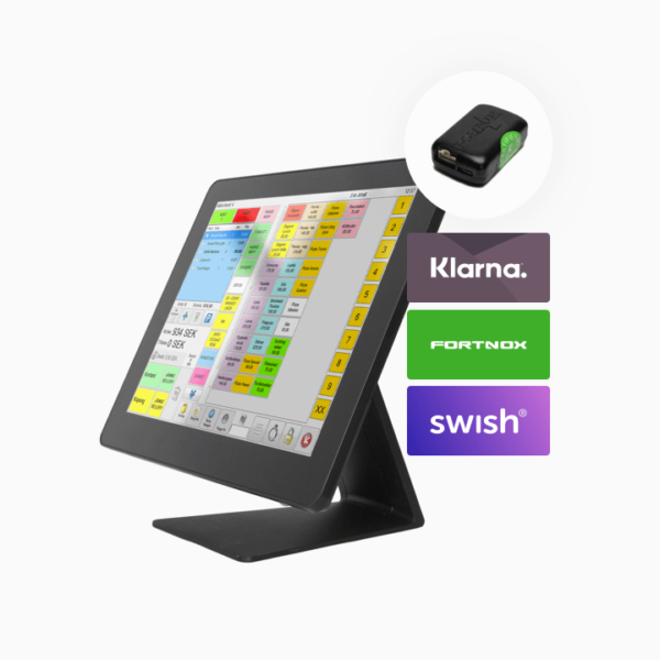 ES Kassasystem Slim med kontrollenhet och funktioner av Klarna, Fortnox och Swish.